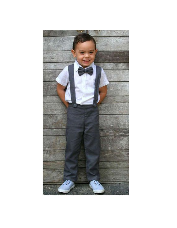 086116a5d7 Boy Suspender Pants-Dark Grey (ONLY),Linen Pants,Pageboy,Christening Outfit,Ring  Bearer outfit, Baptism outfit, linen suit,boy wedding suit