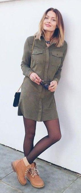 Khaki Suede Shirt Dress |Caroline Receveur