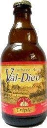 Cerveja Val-Dieu Triple, estilo Belgian Tripel, produzida por L'Abbaye du Val-Dieu, Bélgica. 9% ABV de álcool.