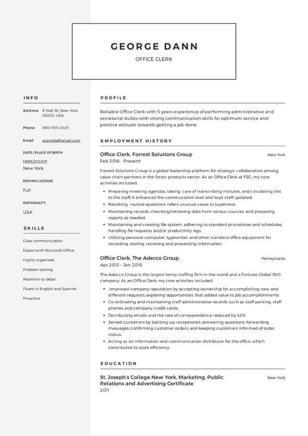office clerk resume sample best 12 fice clerk resume