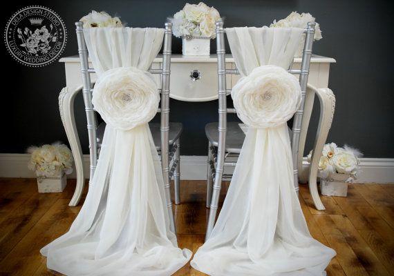 Aurora  Set of 2  Large Handmade Fabric Flower by DelaDesignStudio, £40.00
