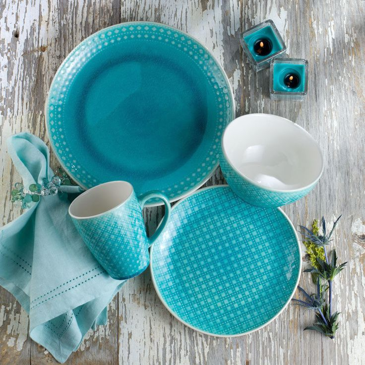 Palma 16 Piece Dinnerware Set in Teal by Euro Ceramica #EuroCeramica