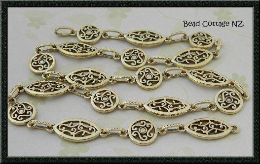 Designer Filigree Link Gold Chain: 1/2 meter