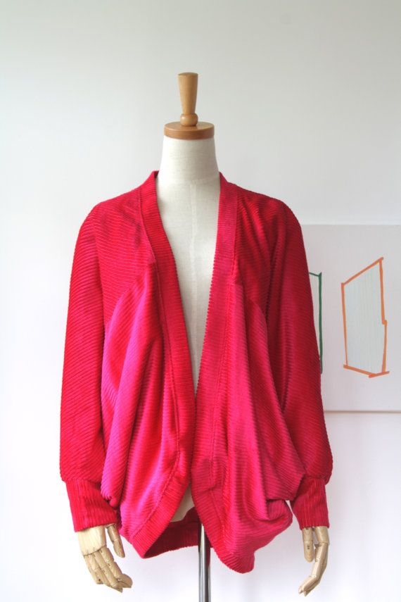 Fushia pink velveteen cord jacket. Cord by ForestHillTradingCo