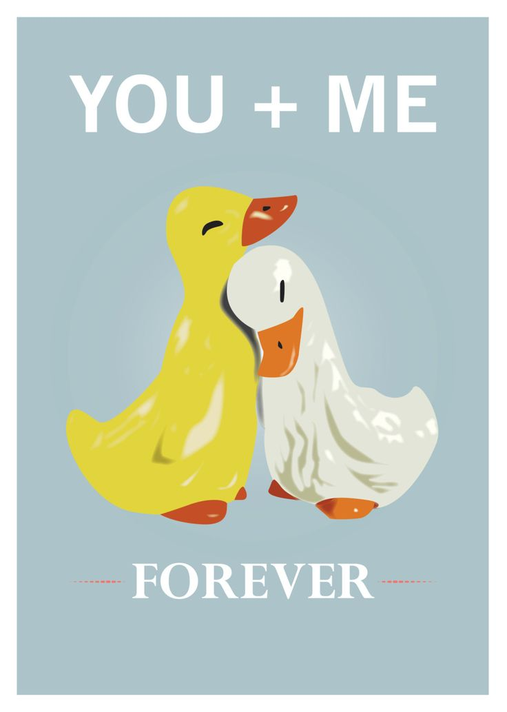 Cute Ducks Poster Love Quote Print You And By