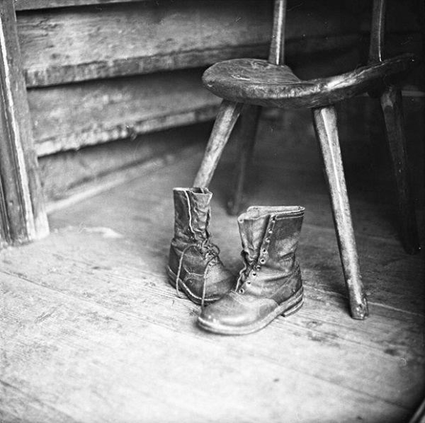 still life - this tells a story and i like the lighting on the chair legs and boots