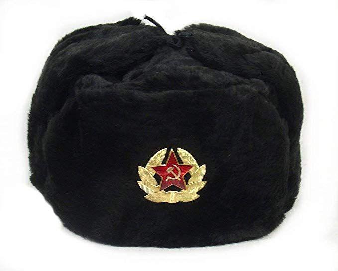 Siberhat Russian Soviet Army Fur Military Cossack Ushanka Winter Hat Black 60 L Review Ushanka Russian Winter Hat Winter Hats