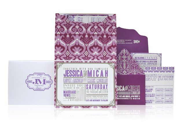 A bold pattern and purple colour palette create a fun, yet formal, invitation suite. Ceci Couture Jessica & Micah Invitation Suite by Ceci New York