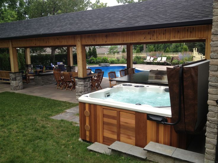 1000 images about hot tub install ideas on pinterest for Outdoor kitchen wall ideas