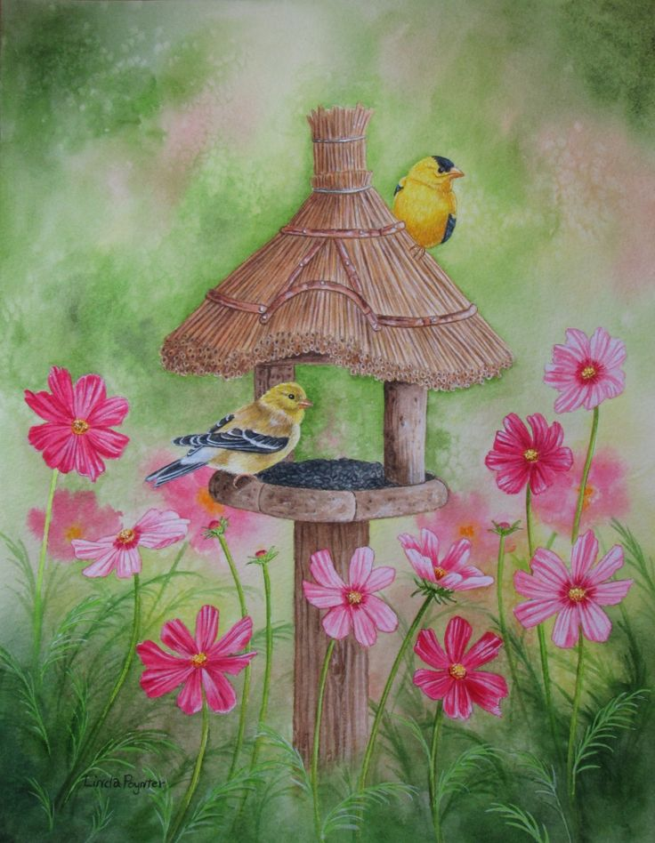 Gold Finches and Thatched Feeder.  11x14 Watercolor