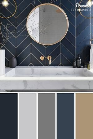 Download Blue and Gold Color Scheme — dvd Interior Design | Bathroom interior design, Bathroom interior ...