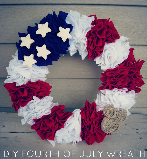 DIY Fourth of July Wreath. Can be used for Independence Day, Support Your Troops or just as a proud American wreath! Simple, fun and inexpensive! Only took 1 hour too! God Bless the USA