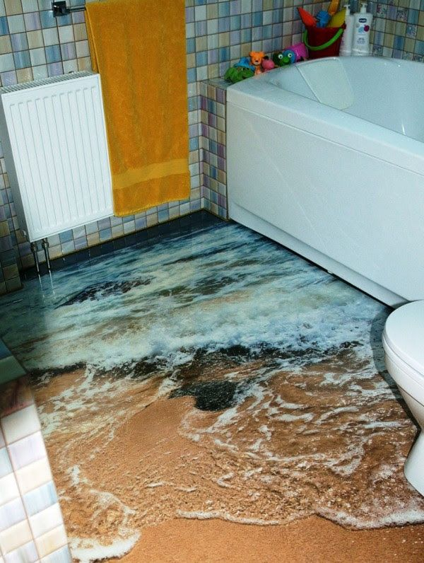 Exceptional Unusual Bathroom Flooring Ideas Part - 1: Coolest Floors Created With Epoxy. These Epoxy Floors Incorporate A  Combination Of Multiple Translucent Layers Along With Angled Images To  Achieve The