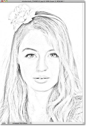 The photo sketch after darkening the edges. Image © 2011 Photoshop Essentials.com.