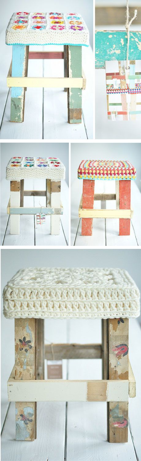 crochet covers and cute rustic stools