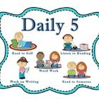 """These are Daily 5 reading and math center rotation cards with an additional """"Meet With the Teacher"""" icon."""