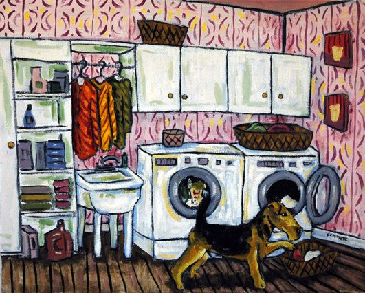 Airedale Terrier Doing the Laundry  Dog Art Print by lulunjay, $17.99