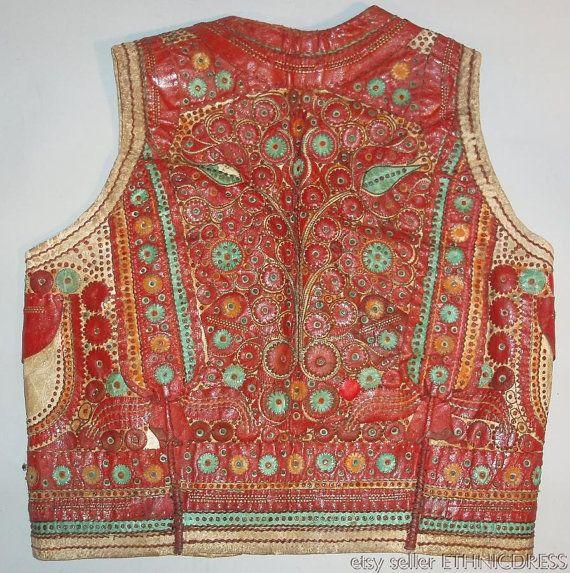ANTIQUE 19th century handmade leather sheepskin vest from Helpa, Slovakia - peasant folk costume | multicolored applique | traditional kroj