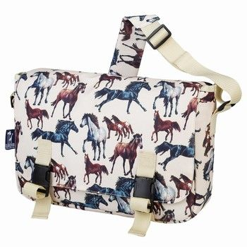Wildkin Horse Dreams Messenger Bag features 2 exterior front pockets, 2 utility pockets for phones, pens or paperbacks. Shop www.HorseToysSuperstore.com for all your horse toys, tattoos, jewelry, t shirts, back packs, lunch boxes, models, plush stuffed animal horse toys, gifts and birthday party supply!