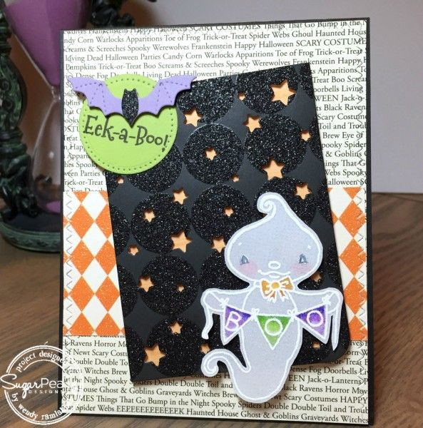 Card by Wendy Ramlakhan for SugarPea Designs.  Stamps: Eek-A-Boo.  SugarCut Dies: Scattered Stars, Stitched Autumn Icons, Layered Treat Labels.  Halloween Card.