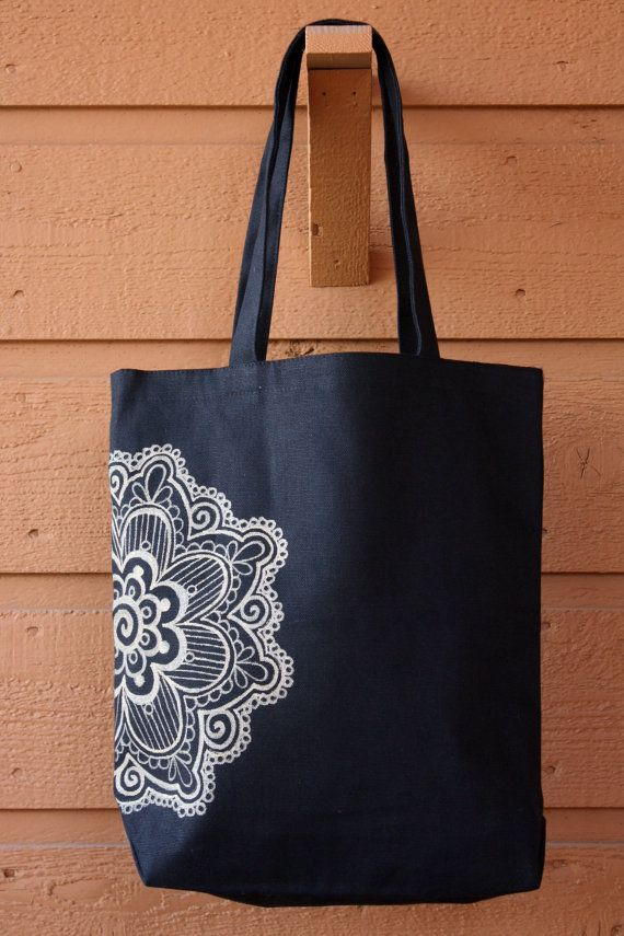 SALE Gold Mandala Henna Tote Bag Book Bag by ibleedheART on Etsy, $15.00
