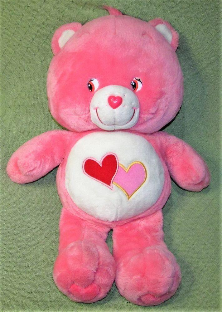 "Care Bears LOVE A LOT Pink 26"" JUMBO Teddy Bear 2003 Hearts Plush Pillow Style #CareBears #any"