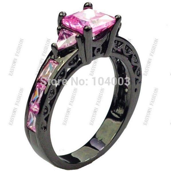 Maat 6/7/8/9/10 vrouwen ringen mode-sieraden roze saffier 10kt zwarte ringen gold filled e2461 gratis verzending