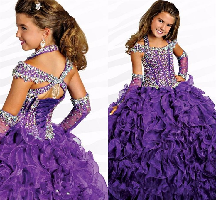 Junior Miss Pageant Dresses Lovely Little Princess Girl'S Pageant Dresses Sexy Crystal Backless Halter Square Neck Flower Girls' Gowns Organza Piping Ball Gown Dresses Kids Beauty Pageant Dresses From Hot_love, $165.87  Dhgate.Com
