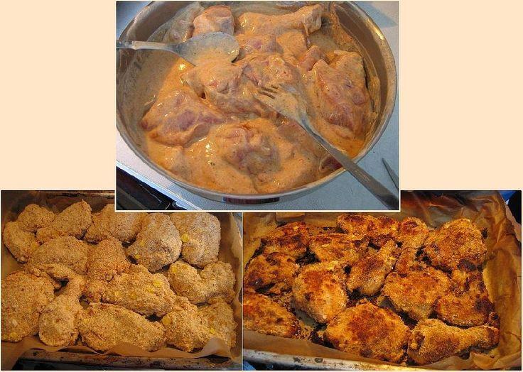 Kuře naporcujeme, vyřezávám páteř (pak použít na polévku) a naložíme do jogurtu promíchaného s kořením, vejci a solí na 12 hodin (přes noc)....
