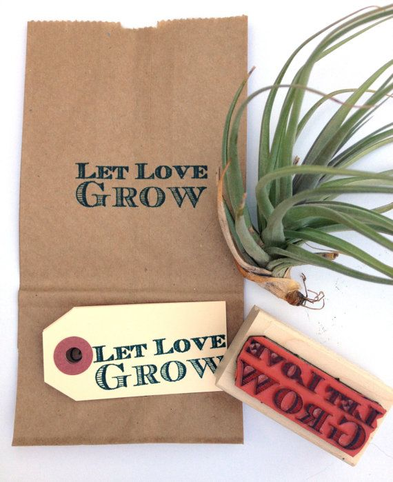 Let Love Grow. Custom Wedding Stamp For Favors Or