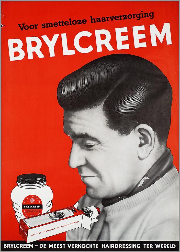 Voor smetteloze haarverzorging Brylcreem. Brylcreem de -meest verkochte hairdressing ter wereld - reclame 1953-1954