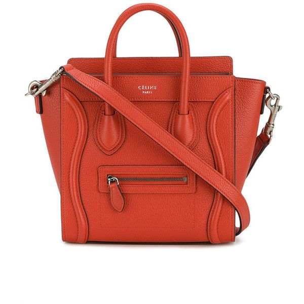 Céline Céline Nano Luggage Cross-Body Bag ($2,131) ❤ liked on Polyvore featuring bags, leather cross body bag, leather crossbody, red cross body bag, red bags and red crossbody