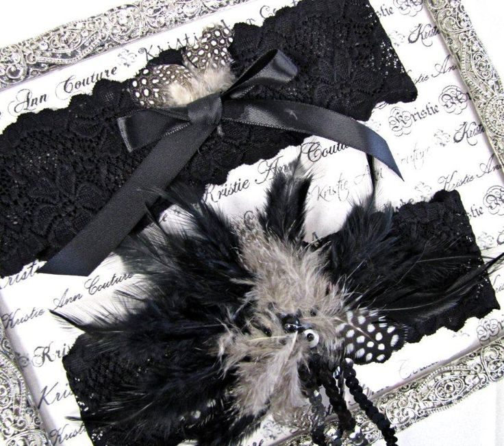 Black Lace And Feather Garter Set Bridal
