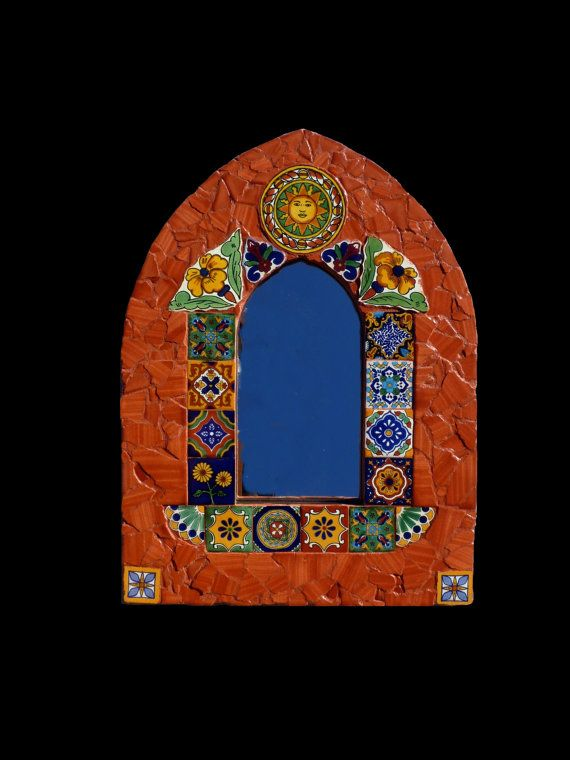 Mosaic Cathedral Style Mirror Made with Talavera Tiles