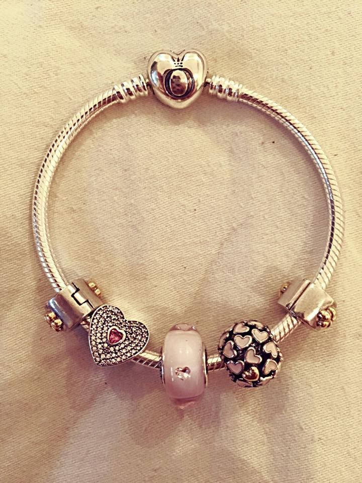 PANDORA Bracelet with New Heart Clasp.