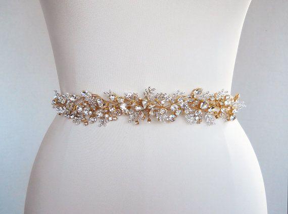 Bridal Swarovski crystal sash belt in gold or by SabinaKWdesign, $384.00