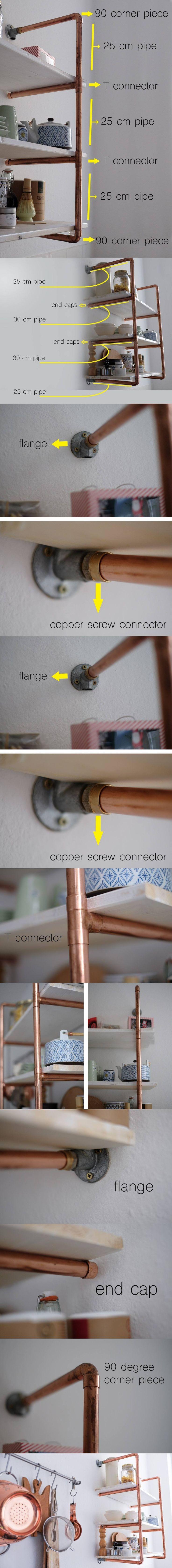 Estantería DIY con tubos de cobre