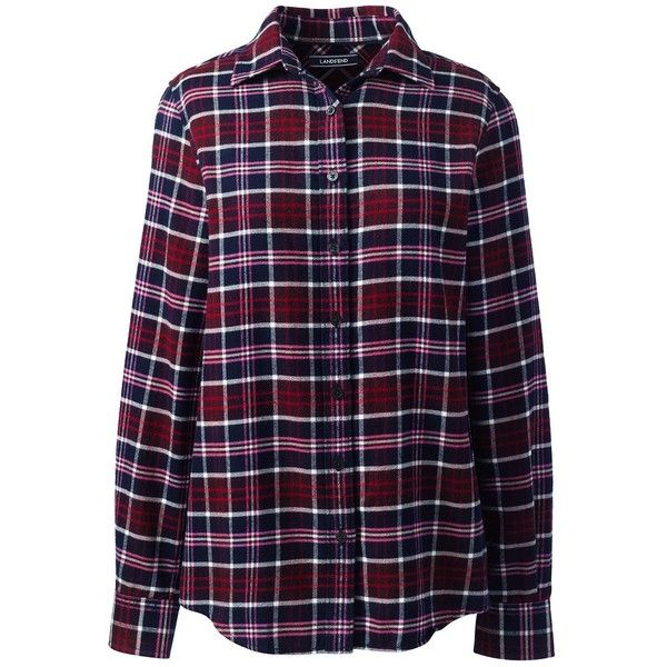 Lands' End Women's Petite Flannel Shirt ($49) ❤ liked on Polyvore featuring tops, t-shirts, red, flannel t shirt, lands end shirts, purple plaid shirt, flannel shirt and petite flannel shirts