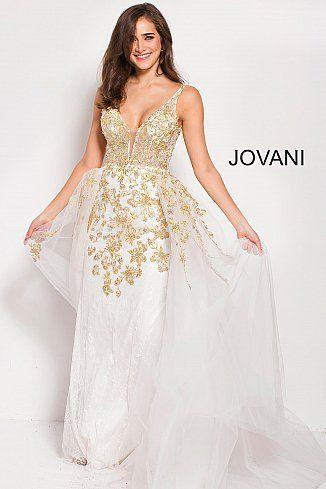 449538660dc4 Off White Gold Embroidered Plunging Neckline Backless Prom Dress 58631  #GoldDress #PromDress #Prom2018 #Jovani