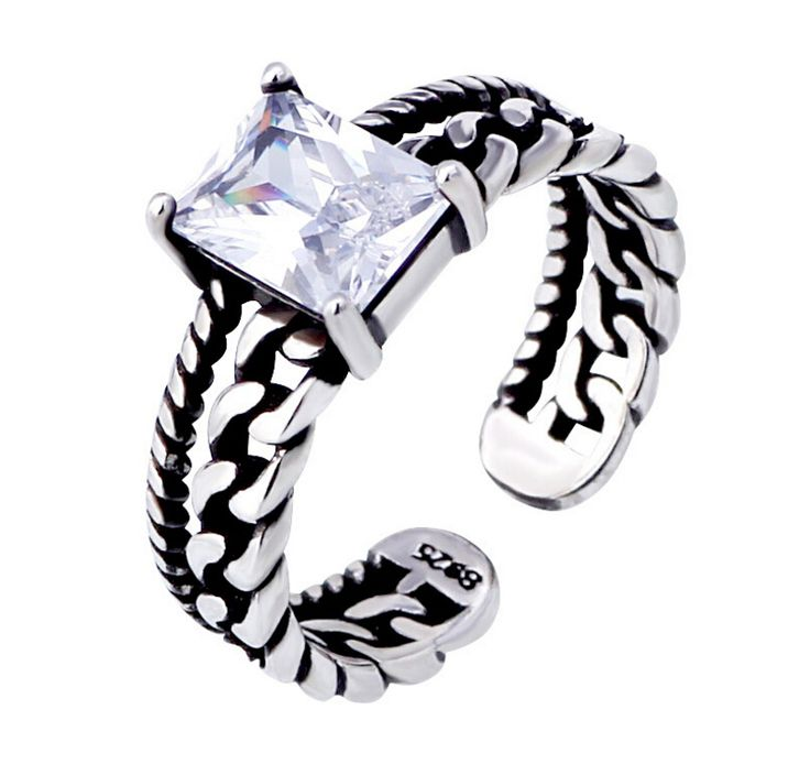 Vintage tricolor Silver Plated Zircon Opening Rings Twisted Chain Models Fashion 925 Jewelry Black Auger Thai Silver Ring S-R01