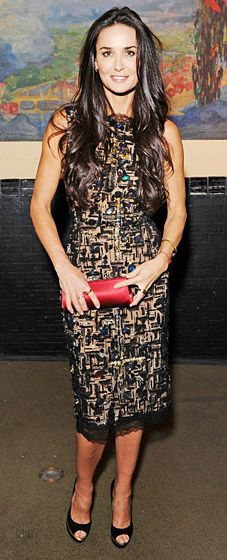 Demi Moore glowed in an embellished cocktail dress in NYC Oct. 17.