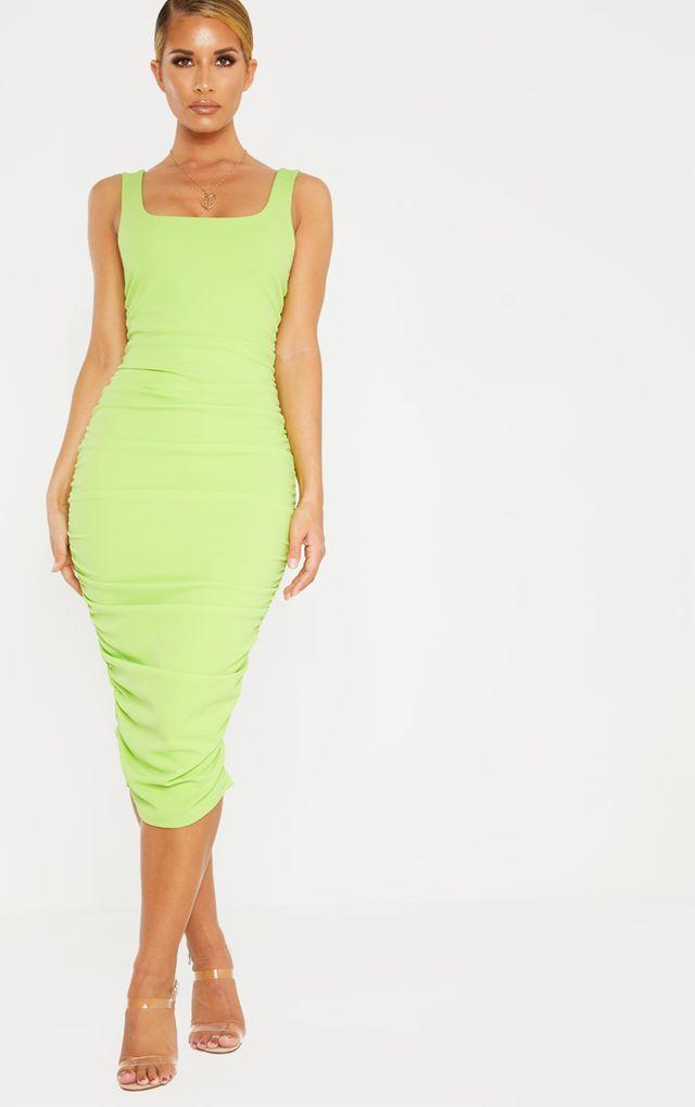 508314bffade Neon Lime Square Neck Open Back Ruched Midi Dress Square Necklines, Strappy  Heels, Pretty