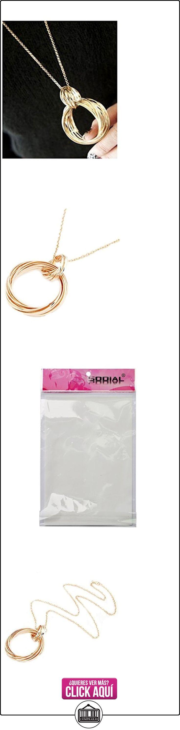 Collar colgante - SODIAL(R)Collar de cadena larga de anillos de multi-anillos de circulo colgante de moda de metal dorado  ✿ Joyas para mujer - Las mejores ofertas ✿ ▬► Ver oferta: https://comprar.io/goto/B01KNUEWV4