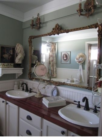I LOVE THE BUST OF GIRL ON SHELF.....Bathroom - French Country Style