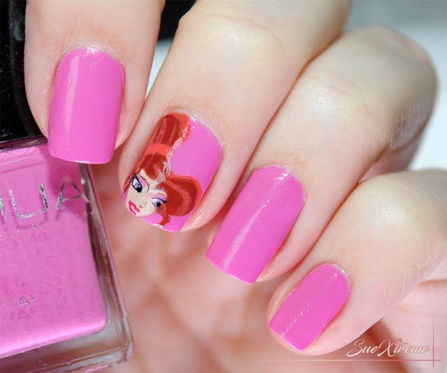 Disney nail art: Megara. Manicura freehand. Princesa disney. #suextreme