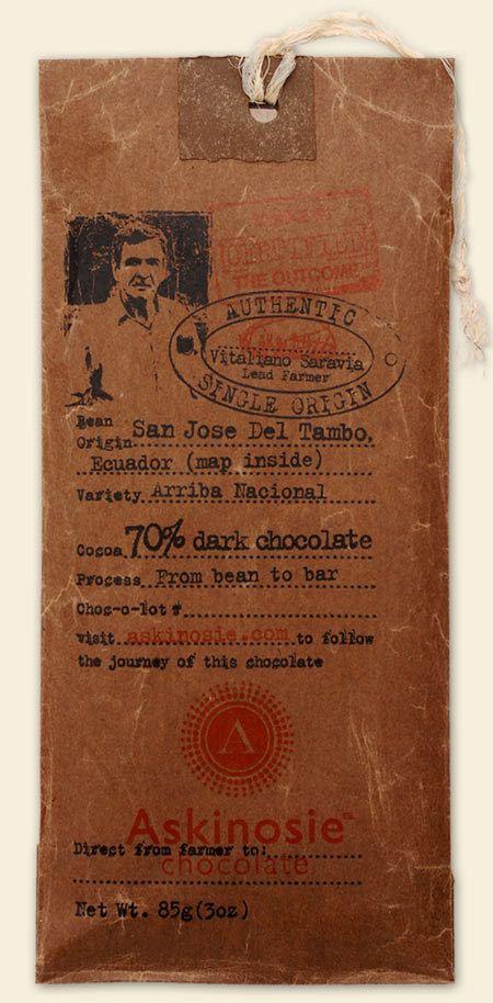 Rustic chocolate packaging