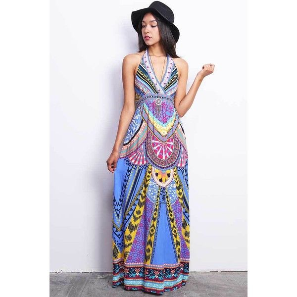 Pink Ice Carousel Maxi Dress ($45) ❤ liked on Polyvore featuring dresses, blue, blue dress, pink maxi dress, blue maxi dress, halter maxi dress and beach maxi dress