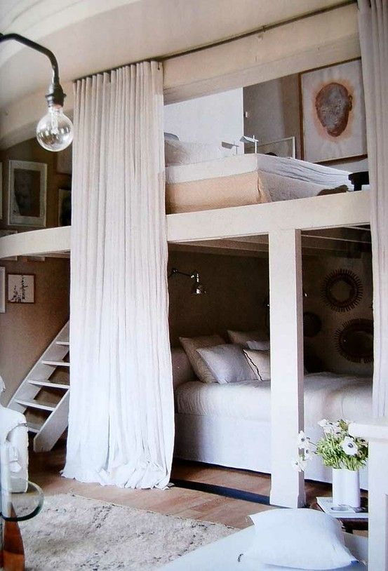 Mezzanine bedroom. Minus the bed underneath and add in a wardrobe/cupboard instead!