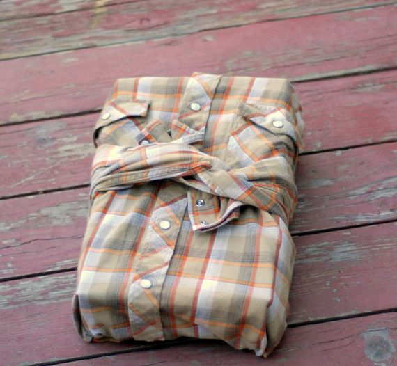 wrap it up with a men's button down shirt: with instructions (so it actually does look nice:).