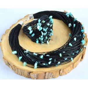 Komplet lniany Niebieskawy Jadeit